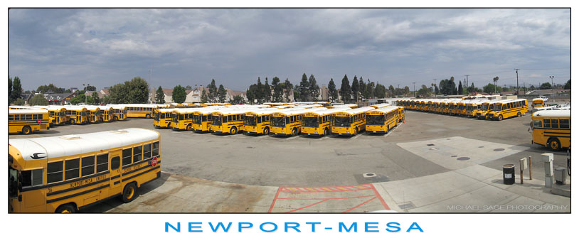 Aerial photo of school bus yard
